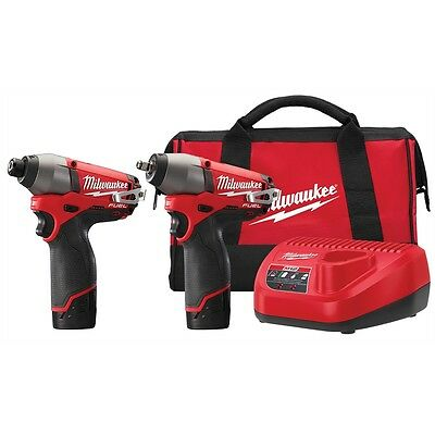 "Milwaukee M12 FUEL 12 Volt 3/8"" Impact Gun Wrench with Hex Bit Driver Combo Kit"