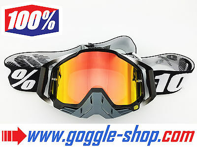 100% PERCENT RACECRAFT MOTOCROSS MX GOGGLES ABYSS BLACK with FIRE MIRROR LENS