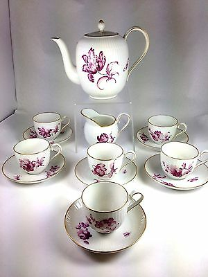 Vintage Nymphenburg Porcelain Tea Service Set for 6 Teapot, Creamer Cups Saucers