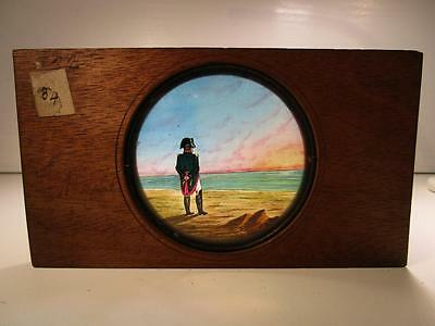Antique Magic Lantern Slide Wooden Frame. Naval Officer Looking Out To Sea.