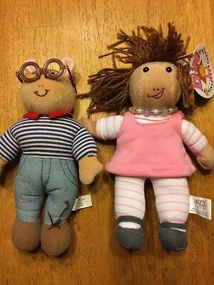 "Marc Brown Plush ARTHUR and D.W. Set Eden toys 9"" Tall 1998"