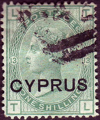 Cyprus Victoria 1880 Gb 1/- Green Ovpt Cyprus Vf Used Part 942 Cancel Of Larnaca