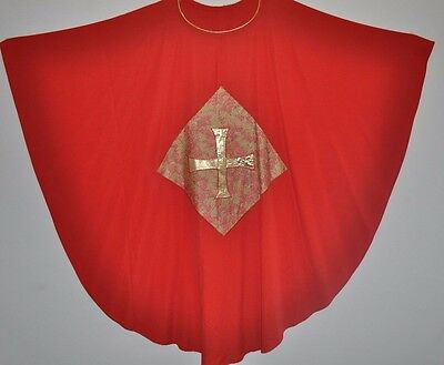 Vintage Red Gold Church Chasuble Vestment Kasel  Handmade