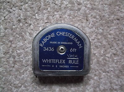 VINTAGE RABONE CHESTERMAN  6 FT. WHITEFLEX TAPE RULE, No. 3436