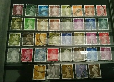 GB stamp collection of 37 used Elliptical Machins to £5.