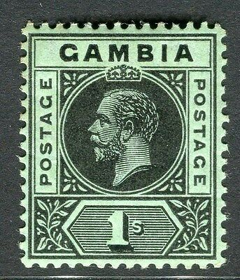 GAMBIA;  1912 early GV. Crown CA issue Mint hinged 1s. value