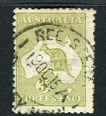 AUSTRALIA;  1913-15 early Roo issue used 3d. value