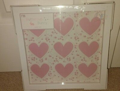 Buttercup Bunny 3D effect pink heart wall art white frame from Mothercare *new*
