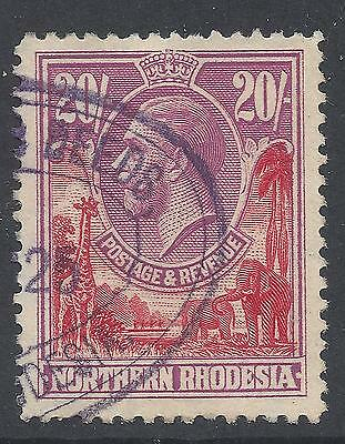Northern Rhodesia  1925 KGV SG 17  20s VF Fiscally used 159l