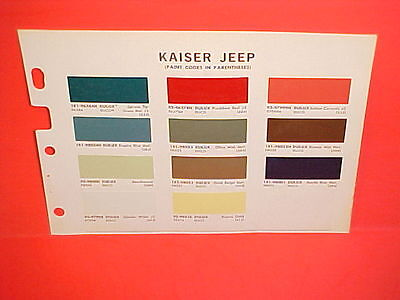 1968 Kaiser Jeep Cj-5 6 Gladiator Truck Wagoneer Jeepster Commando Paint Chips
