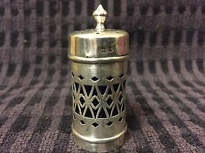 Antique Sterling Silver Pepper Shaker / Pot Blue Glass Liner Birmingham 1903