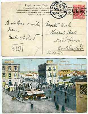 PORT SAID, PAQUEBOT on 1d Red EVII, 1910, Postcard of Taranto, Italy