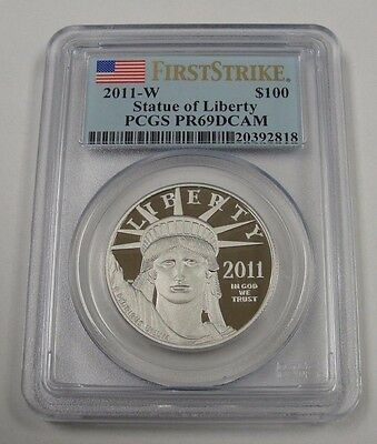 2011-W $100 Statue Of Liberty! Pcgs Pr 69! First Strike! .9995 Platinum! Bw2818