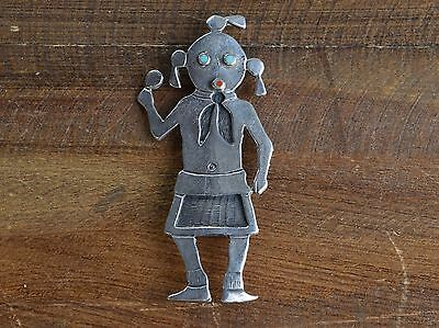 Vintage Hopi Sterling Silver, Turquoise, and Coral Overlay Mudhead Pin