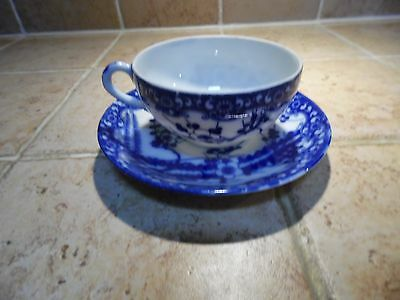 Vintage Occupied Japan China Dark Blue and White Tea Cup and Saucer 1940's
