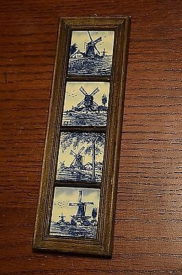 "Delf Blue Delft Tile Framed 2"" Windmill Tiles Wall Hanging Art Made in Holland"