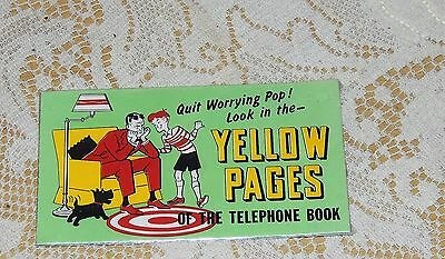 Original 1920-30's Yellow Pages  Ink Blotter..