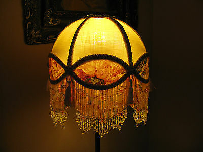 """Victorian French Med Lamp Shade Royal Dome """"Cream/ Rose"""" Fringe  6"""" Beads"""