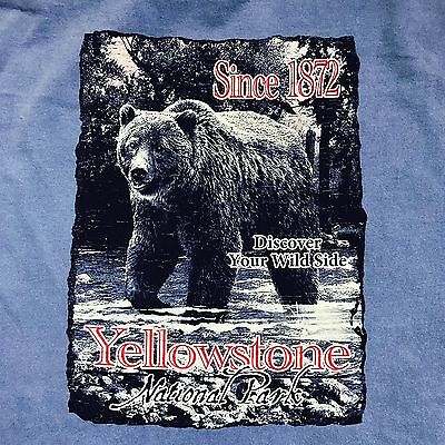 NWT Yellowstone Natl PArk WyoMiNG Tee Grizzly LG T-Shirt Soft Comfort CoLors Blu