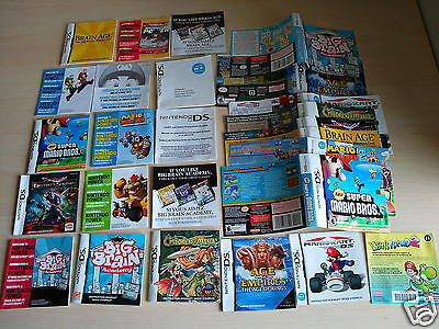 Lot of misc NINTENDO DS COVERS and GAME MANUALS Super Mario Big Brain Academy et