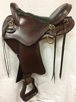 "Big Horn Western Endurance Trail Saddle 16"" Used #808 Regular Quarter Horse Bar"