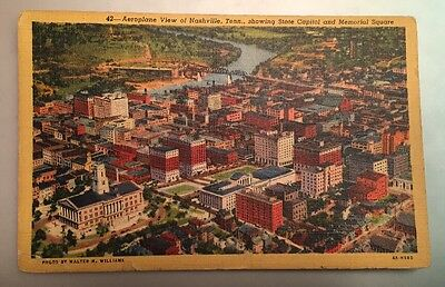 Vintage Linen Postcard - Aeroplane View of Nashville, Tennessee