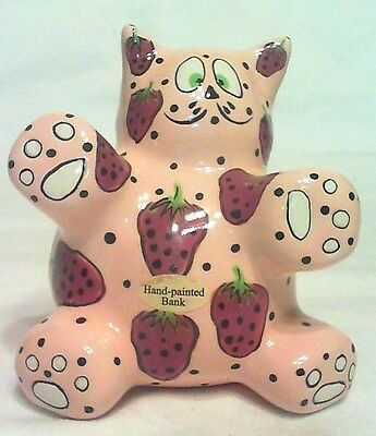 "Vintage Whimsical Cat Bank ""meowberry"" 5-3/4"" Tall,  Signed  Exclusive Ganz Mint"