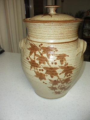 Large Pottery Canister  PICK UP ONLY 3770 C .O.D