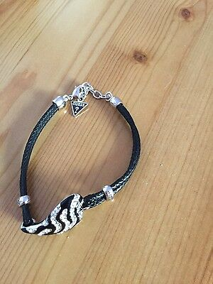 Guess Women's Black rope / Silver crystals  Bracelet