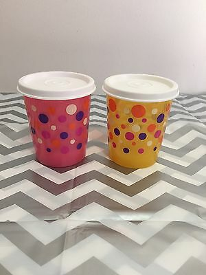 Tupperware Spotty Snack Containers Set Of 2 Yellow And Pink