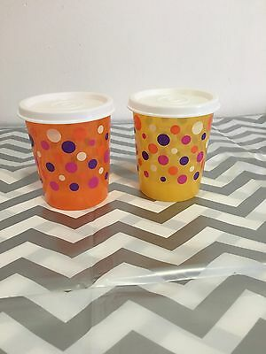 Tupperware Spotty Snack Containers Set Of 2 Orange And Yellow