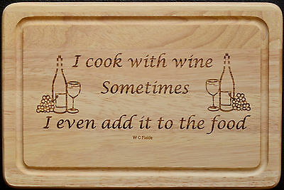 Laser Etched Engraved Chopping Cutting Bread Board, I Cook With Wine Logo