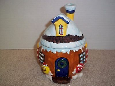 """M&M Candy Snowy Chalet Ceramic Candy Dish Holder 8"""" 2008"""