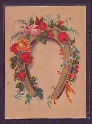 Victorian Antique Vintage 1880s Card--Gold HORSESHOE Roses Flowers!!