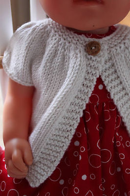 White Cardigan hand made dolls clothes for Baby Born Cabbage Patch