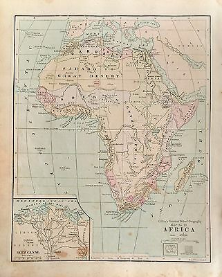 1879 Original Antique Map of Africa by J.H. Colton