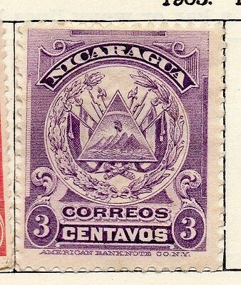 Nicaragua 1905 Early Issue Fine Mint Hinged 3c. 122045