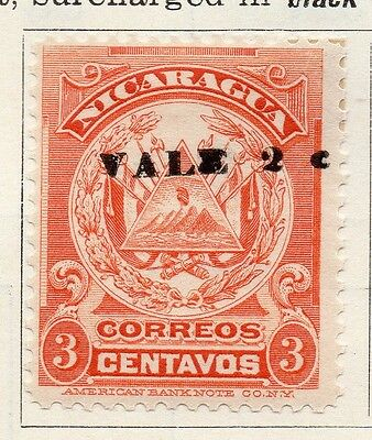 Nicaragua 1910 Early Issue Fine Mint Hinged 3c. Surcharged 122075