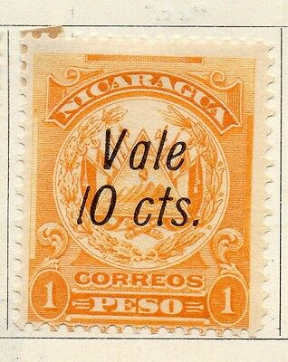 Nicaragua 1910 Early Issue Fine Mint Hinged 10c. Surcharged 122083