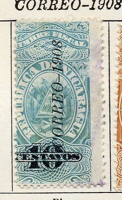 Nicaragua 1908 Early Issue Fine Used 10c. Optd 122091