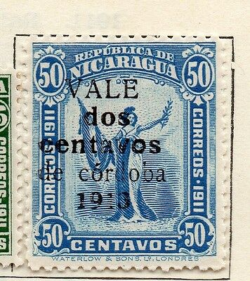 Nicaragua 1913 Early Issue Fine Mint Hinged 2c. Surcharged Optd 122106