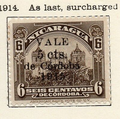Nicaragua 1914 Early Issue Fine Mint Hinged 5c. Optd Surcharged 122171