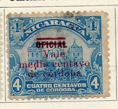 Nicaragua 1921 Early Issue Fine Used 1/2c. Optd Surcharged 122183