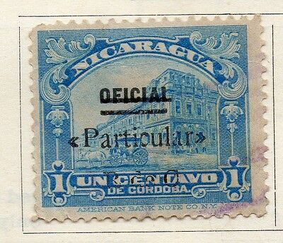Nicaragua 1921 Early Issue Fine Used 1c. Optd Surcharged 122185