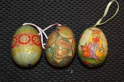 3 -  PAPER MACHE OR DECOUPAGE EASTER EGG ORNAMENTS  - Very Cute!
