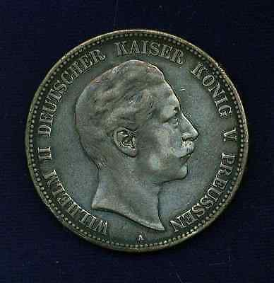 Germany  Prussia   1903-A   5 Mark  Silver Coin,   Vf/xf