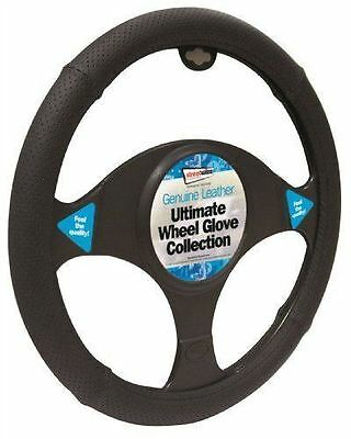 Daewoo Lacetti Black Genuine Leather Steering Wheel Cover Glove 37cm