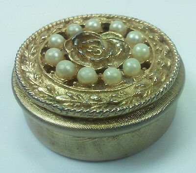 RETRO 1950s GOLD METAL PILL BOX WITH FAUX PEARLS