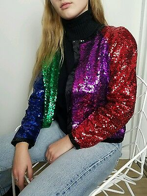 VTG Rainbow/Sequins/Cropped/Bomber/Jacket/80's/Glam/Color Block/Graphic/Bold/M