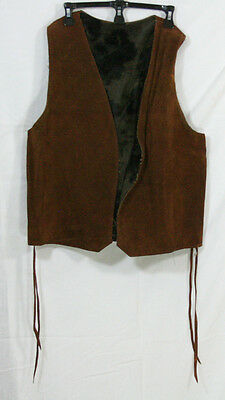 VINTAGE 1960s MEN'S HIPPY LEATHER VEST WITH FAUX SHEEPSKIN LINING